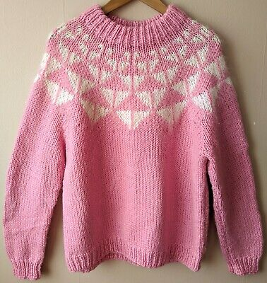 80s Vintage Icelandic Jumper 18 Chunky Pink Nordic Scandi Cosy Hand Knitted