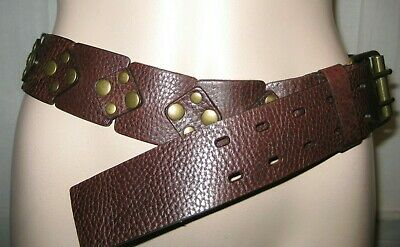 Marks and Spencer unique and stylish brown leather casual waist belt size S