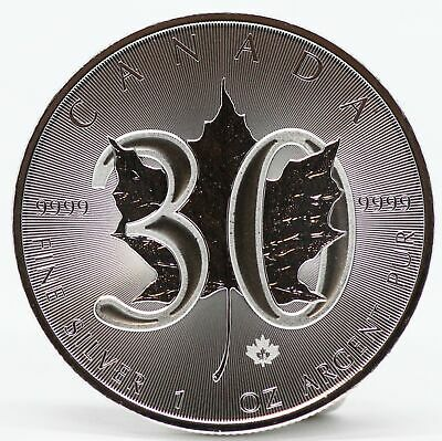 2018 Canada Maple Leaf 30th Anniversary 1 oz 9999 Silver $5 Canadian Coin JC470