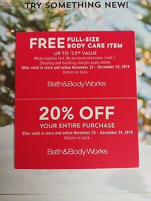 Bath & Body Works No Cost Full Size Body Care Item & 20% Off Entire Purchase