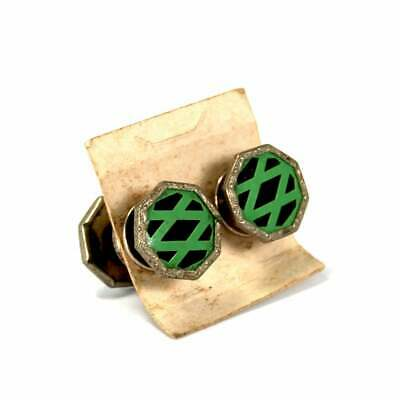 Antique Art Deco Snap Cufflinks Double Sided Silver Toned Green Black Celluloid