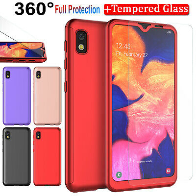 For Samsung Galaxy A10e 360° Case Cover with Tempered Glass Screen Protector