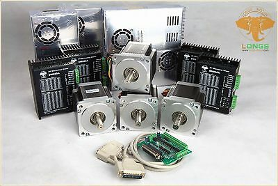 4Axis Nema34 Stepper Motor 878oz.in 2A single shaft&Driver&Power supply CNC Kit