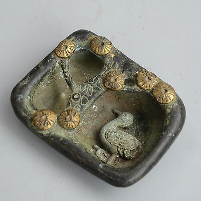 Collection China Antique Bronze Gilding Carve Crane & Pine Delicate Tree Ashtray