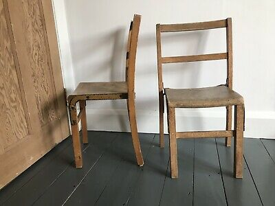 Vintage Wooden Childs Chairs x 2 20th Century Antique School Chairs Solid