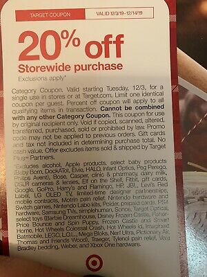 Target 20% Off Coupon On Your Online Valid From 12/3-12/14/19! Read Exclusions.