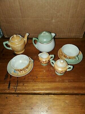 Incomplete Vintage  Miniature Japanese Porcelain Tea Set 8 Pc w lids Antiques