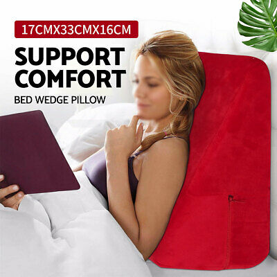 Bedding Wedge Pillow Foam Cushion Neck Back Support Home Washable AU Red