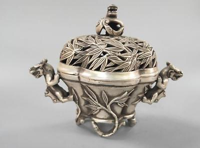 Chinese refined crafts bamboo white copper incense burner