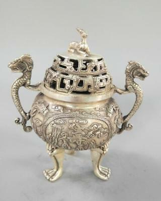 Chinese refined crafts double dragon white copper incense burner