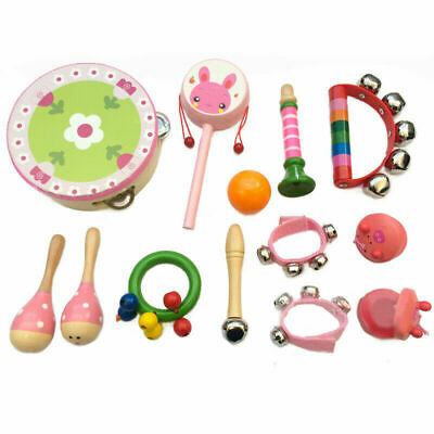 10 Bells Baby Kids Rainbow Wooden Handle Jingle Stick Shaker Sensory Rattle Toys