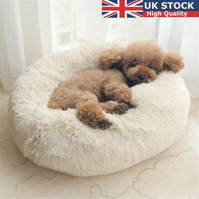 large Luxury Shag Warm Fluffy Pet Bed Dog Puppy Kitten Fur Donut Cushion Mat XY