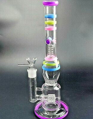 Smoking pipe water glass hookah pipe colorful honeycomb tyre recycler PERC bong
