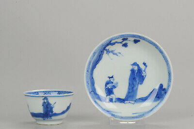 Rare Antique Kangxi Period Chinese Porcelain Cup Literatus and Servant[:...