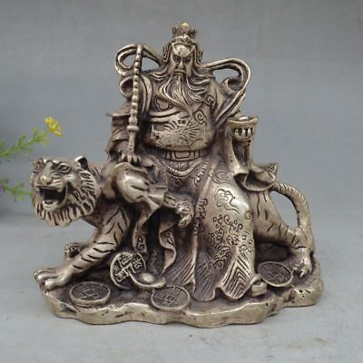 Collectible Handwork White copper Carved Gong Ming Riding Tiger Statue