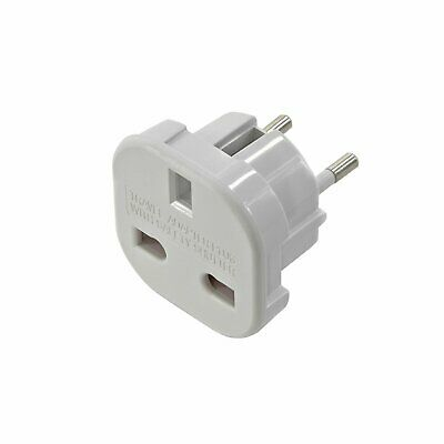Adaptador Blanco Red Enchufe UK Ingles Reino Unido a Europeo UE Schuko Universal