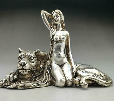 china old tibetan silver copper handmade beauty woman and leopards statue /Tc02