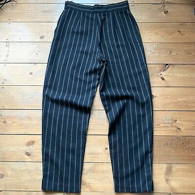VINTAGE MONDI SIZE 42 BLACK CREAM STRIPED TROUSERS WOOL HIGH WAIST 80s VINTAGE