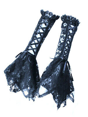 Mittens Lace with Lacing Elegant Gothic Rq-bl