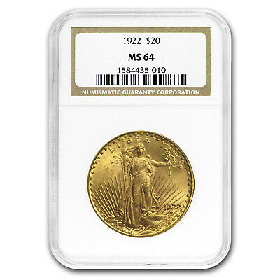 1922 $20 Saint-Gaudens Gold Double Eagle MS-64 NGC - SKU#19179