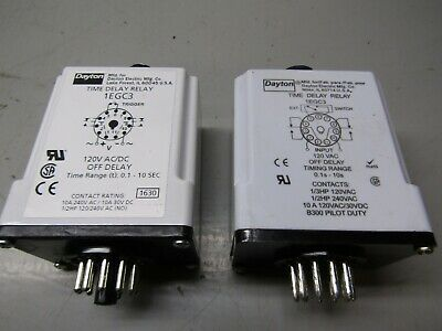 Dayton 1EGC3 Time Delay Relay Lot of 2!
