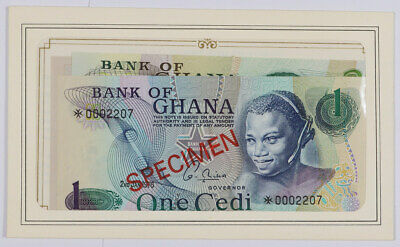 Set of 4 Bank of Ghana 1, 2, 5, 10 Cedis Specimen Notes