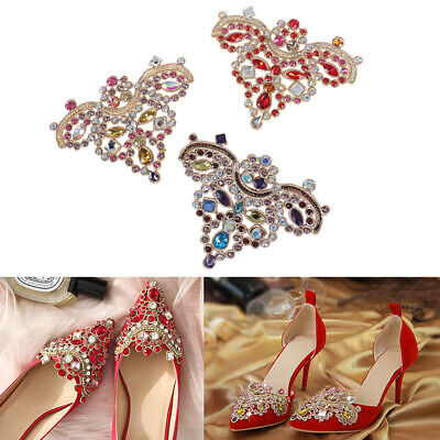 1Pc Rhinestone Crystal Shoe Applique Flatback Sew On Shoes Patch Badge Decor BX