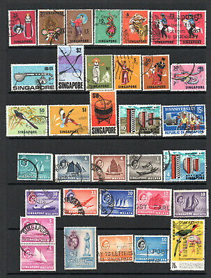 Commonwealth - Singapore -  Selection X 34 Used Stamps To $10.