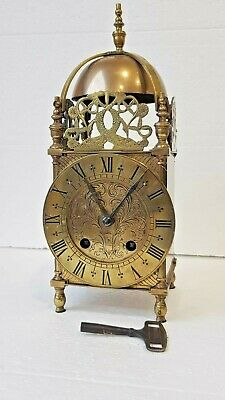 Antique French solid brass striking Lantern Bracket clock