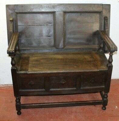 1910's Oak Monks Bench with Lift up Lid