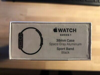 New Sealed! Apple Watch Series 1 38mm Space Gray Aluminum Black Band (MP022LL/A)