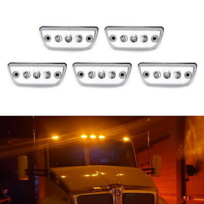 5pc Clear Lens Chrome Amber LED Roof Clearance Marker Lights For Kenworth T680..