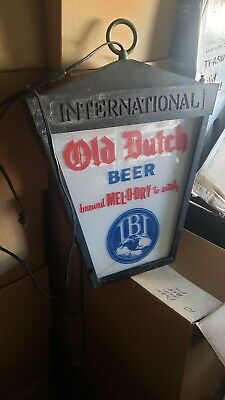 Vintage Rare Old Dutch Beer Hanging Lighted Two Sided Advertising Sign