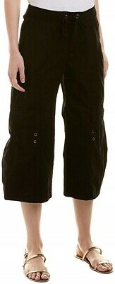 XCVI Womens 167797 Cotton Blend Crop Casual Palazzo Pants Solid Black Size Large
