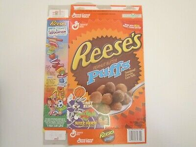 Empty Cereal Box 1996 REESE'S PEANUT BUTTER PUFFS Space Jam [Z201g4]