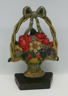 Antique Original Hubley Flowers Floral Roses Bouquet Basket Cast Iron Doorstop