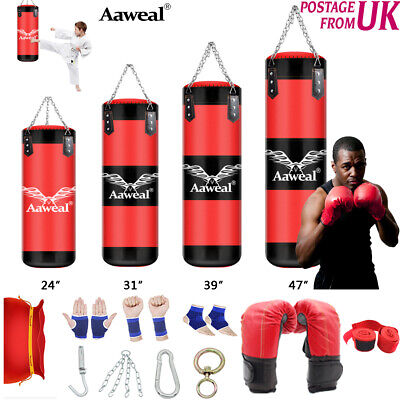 1+9 Punch Bag UnFilled Hanging Boxing Set Heavy MMA Training Pads 60/100/120cm