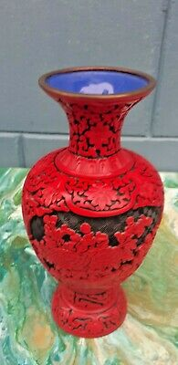 "Vintage Cinnabar Red Lacquer Carved 9"" Chinese Vase brass & blue enamel 1990's"