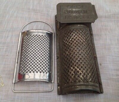 Antique Tin Spice/Nutmeg Grater With Storage Box/Compartment & Sliding Lid /Acme