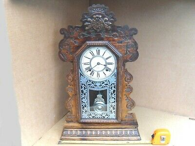 "Vintage Ansonia Usa Chime Wall Clock Brass Movement Nice Looking 22"" Tall Wood"
