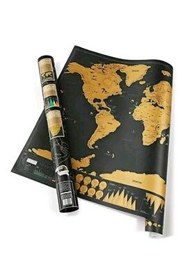 Deluxe Scratch Off World Map Poster Personalized Travel Gift Wanderlust UK