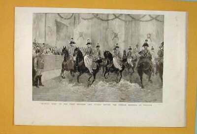 Old Antique Print Prussian Life Guards German Emperor Musical Ride 1890 19th
