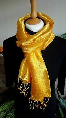 100% Pure Raw Thai Silk Scarf in solid Sunflower Yellow. Handwoven. Large.