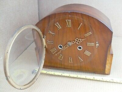 Vintage Smiths Enfield Chiming Clock Mantel Brass Movement Mantelpiece