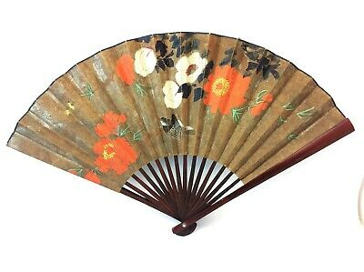 Extra Large Wood Made in China A-125 Decorative Oriental Painted Floral Hand Fan