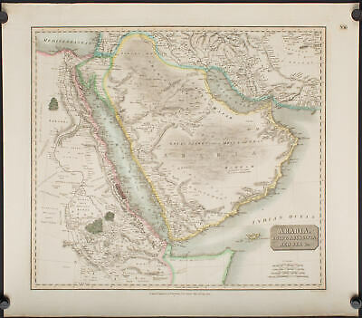 1814 Thomson map of Arabia with caravan routes.