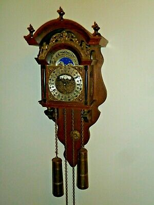 Vintage Dutch weight-driven moonphase wall clock - Hermle movement