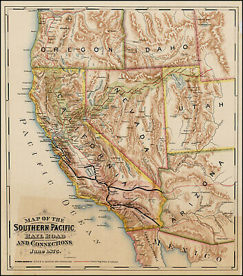 Rare first known map focused on Southern Pacific Railroad.