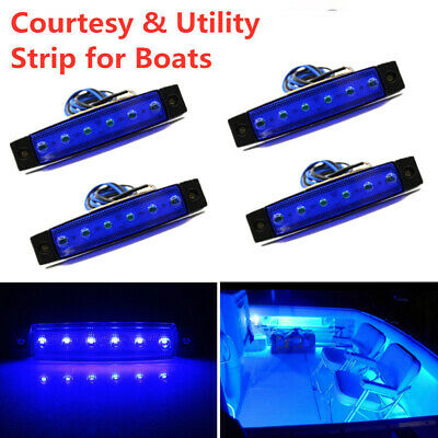 4 Large BBT Marine Grade 12 volt Waterproof Blue LED Courtesy Lights