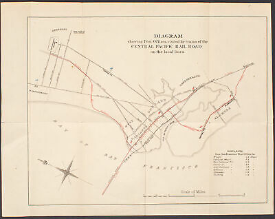 1879 map of Oakland post offices and Central Pacific rail routes
